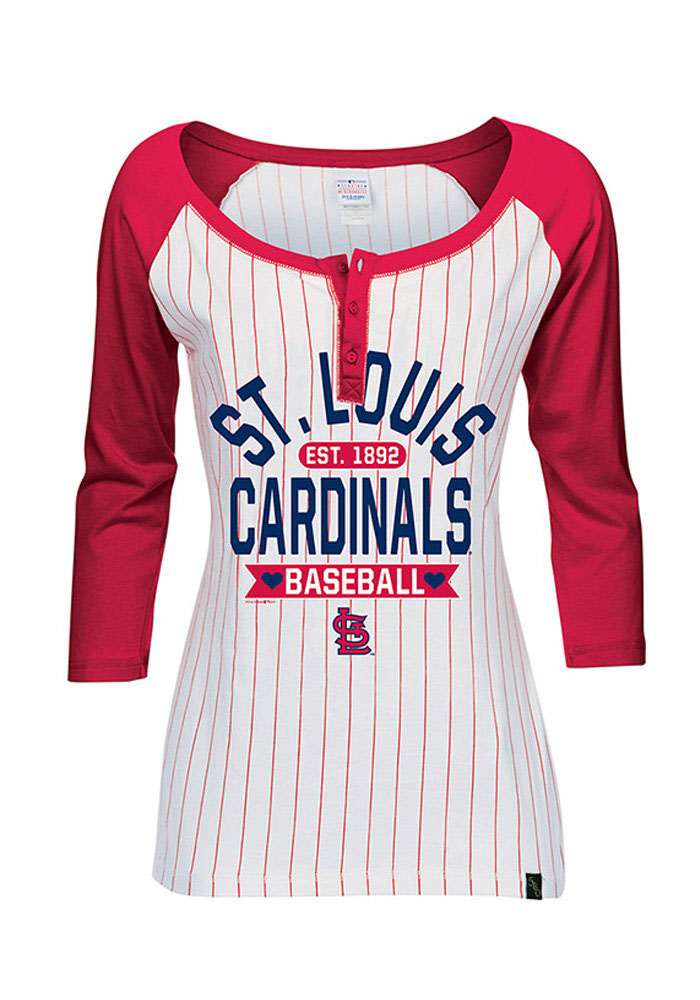 STL Cardinals Womens White Pin Stripes Long Sleeve Scoop Neck - Image 1