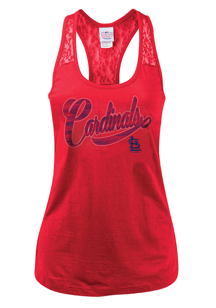 St Louis Cardinals Womens Red Lace Tank Top - Image 1