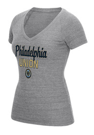 Adidas Philadelphia Union Womens Grey Script Scratch Outline V-Neck