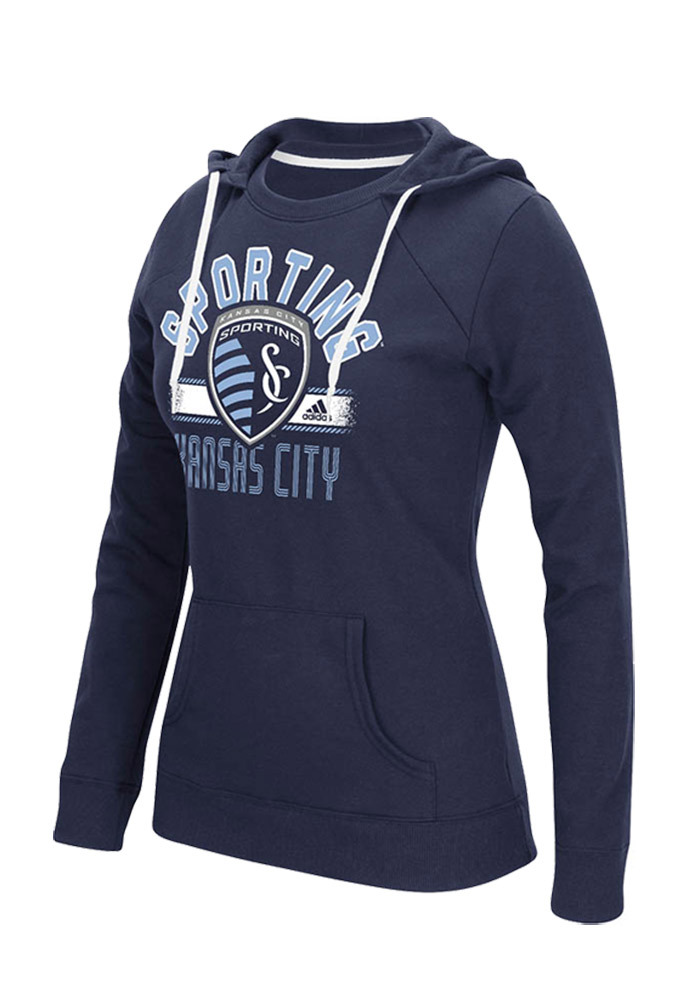 Adidas Sporting Kansas City Womens Navy Blue Arch Banner Hooded Sweatshirt - Image 1