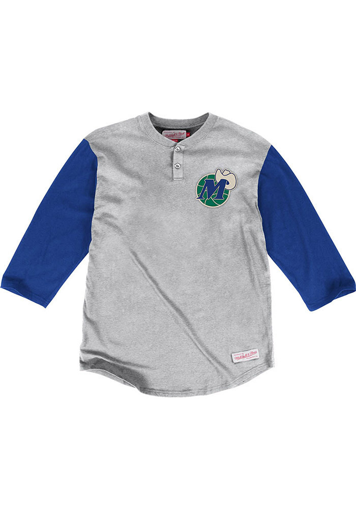 Mitchell and Ness Dallas Mavericks Gray In the Clutch Henley Long Sleeve Tee - Image 1
