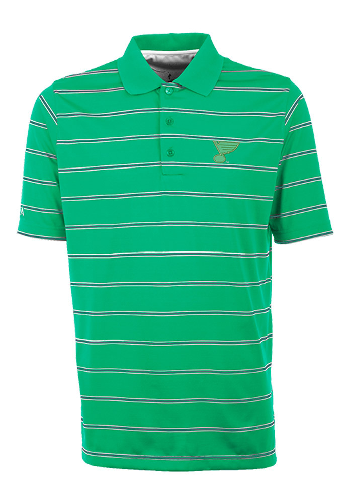 Antigua St Louis Blues Mens Green Deluxe Short Sleeve Polo - Image 1