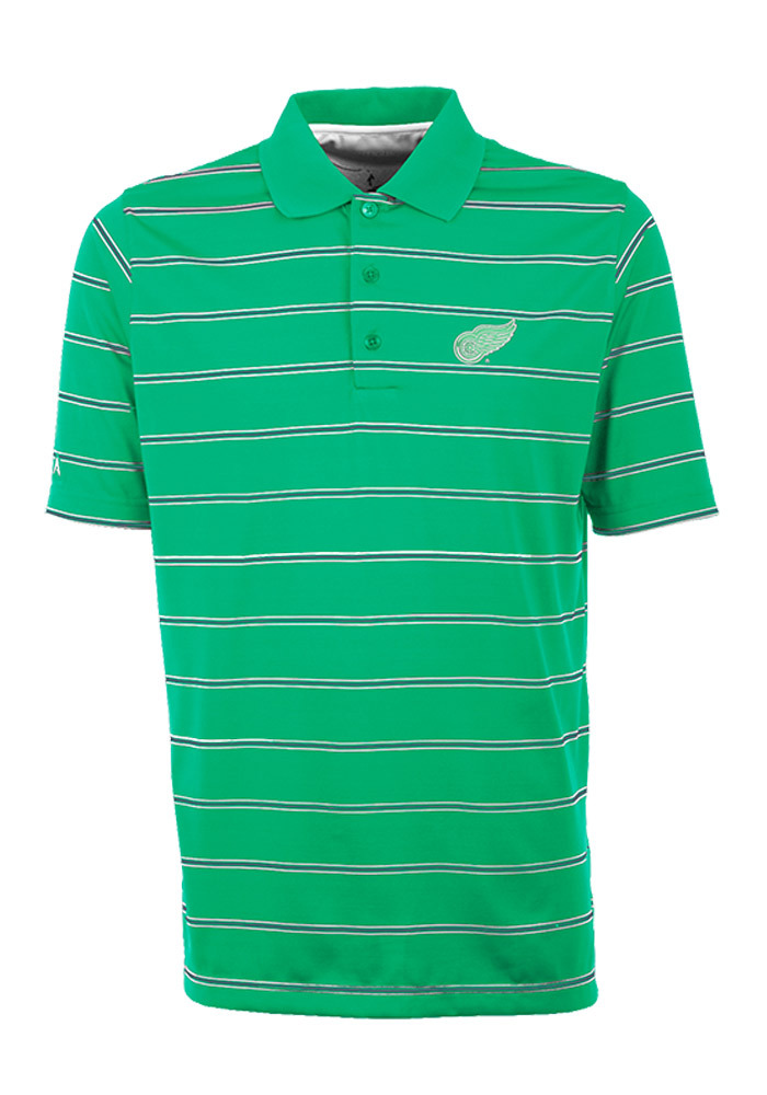 Antigua Detroit Red Wings Mens Green Deluxe Stripe Short Sleeve Polo Shirt