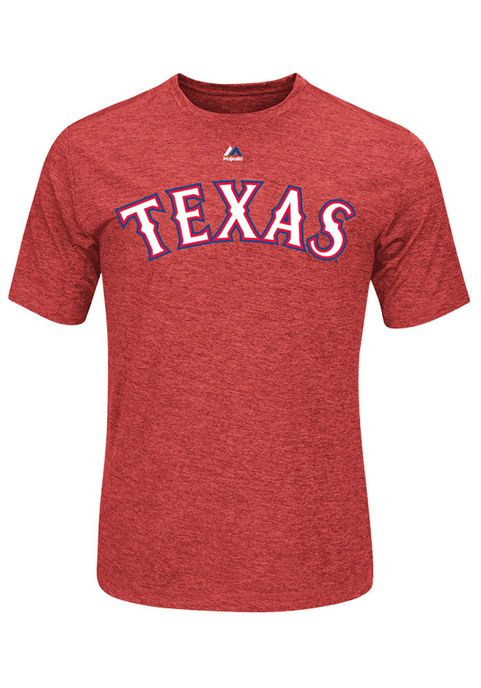 Texas Rangers Mens Red Wordmark Big and Tall T-Shirt - Image 1