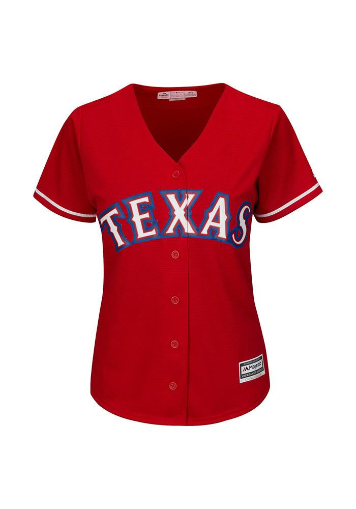 Texas Rangers Womens Majestic Replica Cool Base Jersey Jersey - Red - Image 1