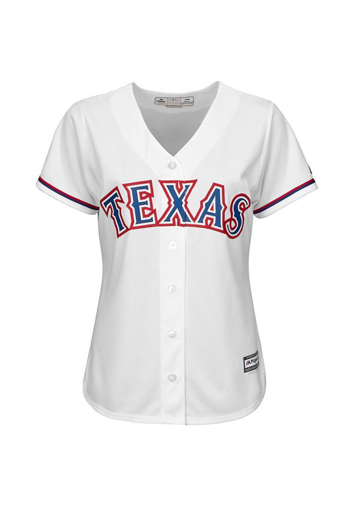 Texas Rangers Womens Majestic Replica Cool Base Jersey Jersey - White - Image 2