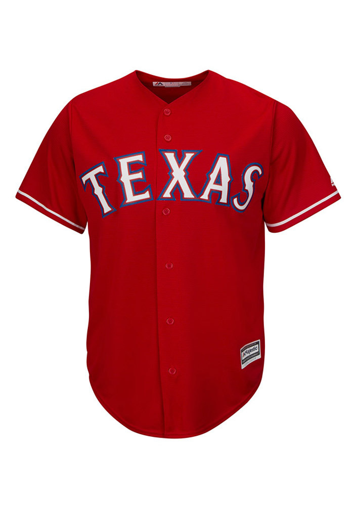 low cost e9014 bcea5 Texas Rangers Mens Majestic Replica Cool Base Jersey Jersey - Red