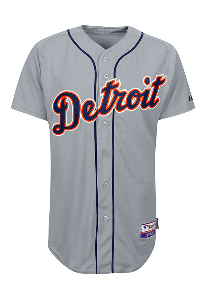 Detroit Tigers Mens Majestic Replica Cool Base Jersey Jersey - Grey - Image 1