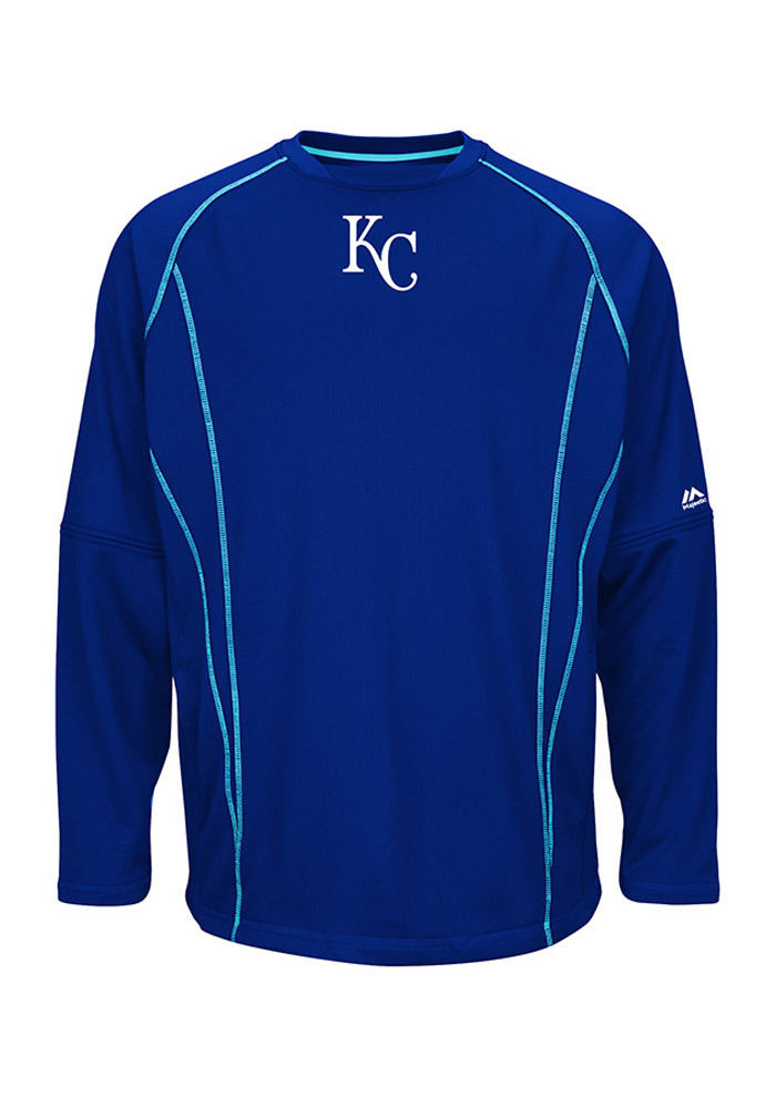 Majestic Kansas City Royals Mens Blue On-Field Practice Pullover Pullover Jackets - Image 1