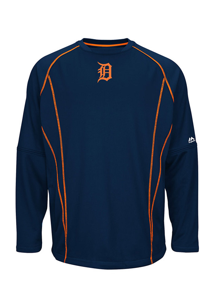 Majestic Detroit Tigers Mens Navy Blue On-Field Practice Pullover Pullover Jackets - Image 1