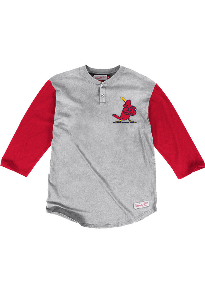 Mitchell and Ness St Louis Cardinals Grey In the Clutch Long Sleeve Fashion T Shirt - Image 1