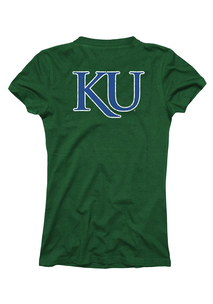 Kansas Jayhawks Womens Green St. Patrick`s Day V-Neck T-Shirt - Image 3