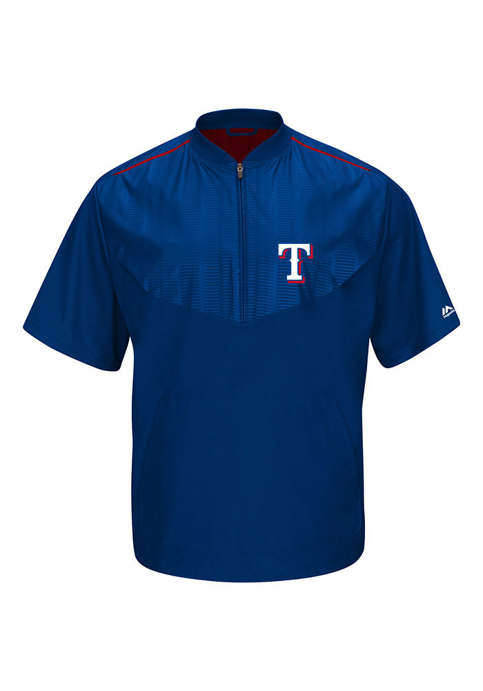 Majestic Texas Rangers Mens Blue On-Field Cool Base Gamer Short Sleeve Jacket - Image 1