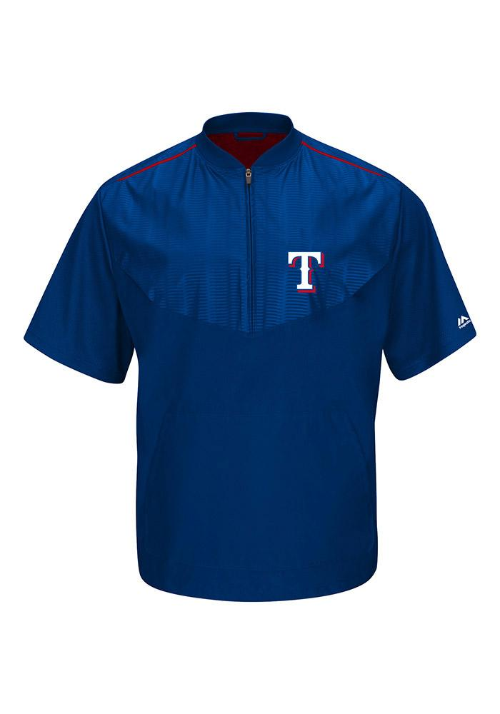 Majestic Texas Rangers Mens Blue On-Field Cool Base Gamer Short Sleeve Jacket - Image 2
