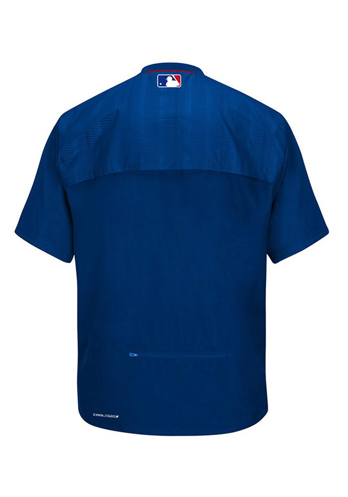 Majestic Texas Rangers Mens Blue On-Field Cool Base Gamer Short Sleeve Jacket - Image 3