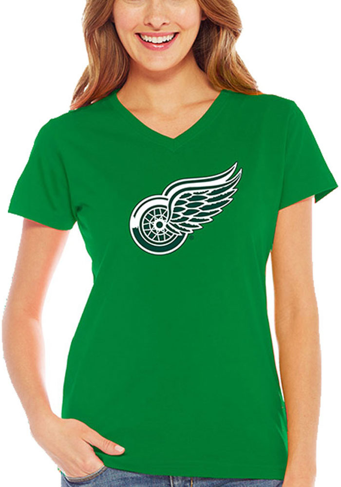 Detroit Red Wings Womens Kelly Green St. Patricks Day V-Neck - Image 1