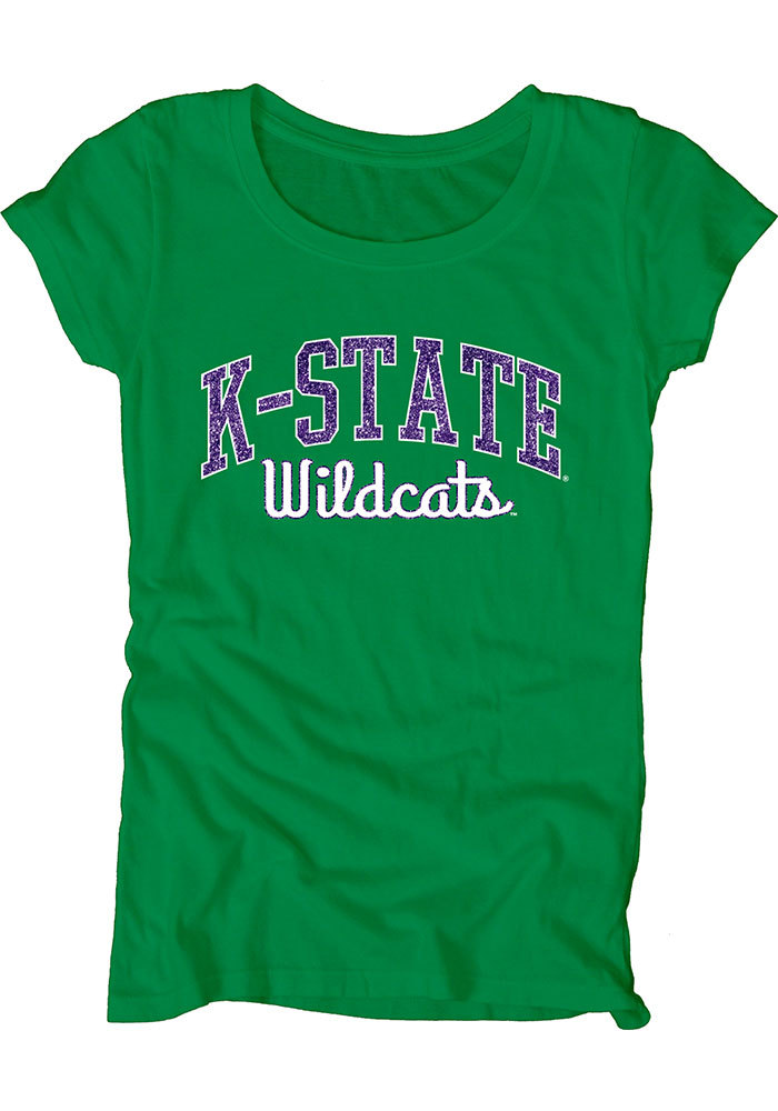 K-State Wildcats Womens Green Dyed Scoopneck Scoop T-Shirt - Image 1