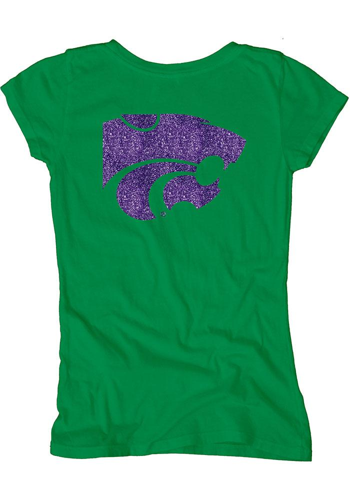 K-State Wildcats Womens Green Dyed Scoopneck Scoop T-Shirt - Image 3