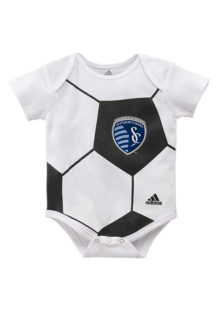 Sporting Kansas City Baby White Ball Baby Short Sleeve One Piece - Image 3