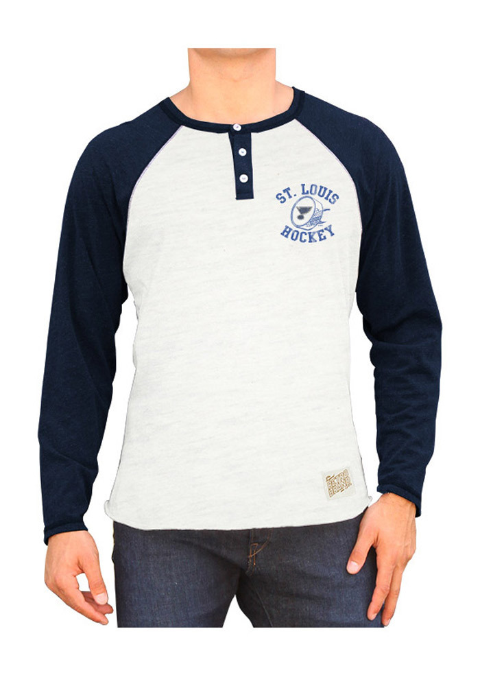 Original Retro Brand St Louis Blues Grey Raglan Henley Long Sleeve Fashion T Shirt - Image 1