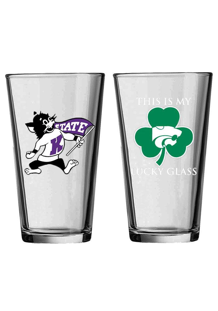 K-State Wildcats Willie Wildcat Lucky Glass Pint Glass - Image 1