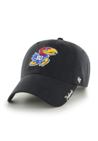 47 Kansas Jayhawks Womens Black Miata Clean Up Adjustable Hat