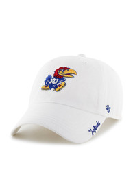 47 Kansas Jayhawks Womens White Miata Clean Up Adjustable Hat