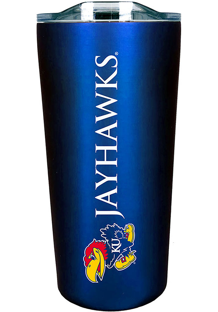 Kansas Jayhawks Team Logo 18oz Soft Touch Stainless Steel Tumbler - Blue
