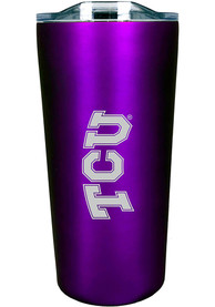 TCU Horned Frogs Team Logo 18oz Soft Touch Stainless Steel Tumbler - Purple