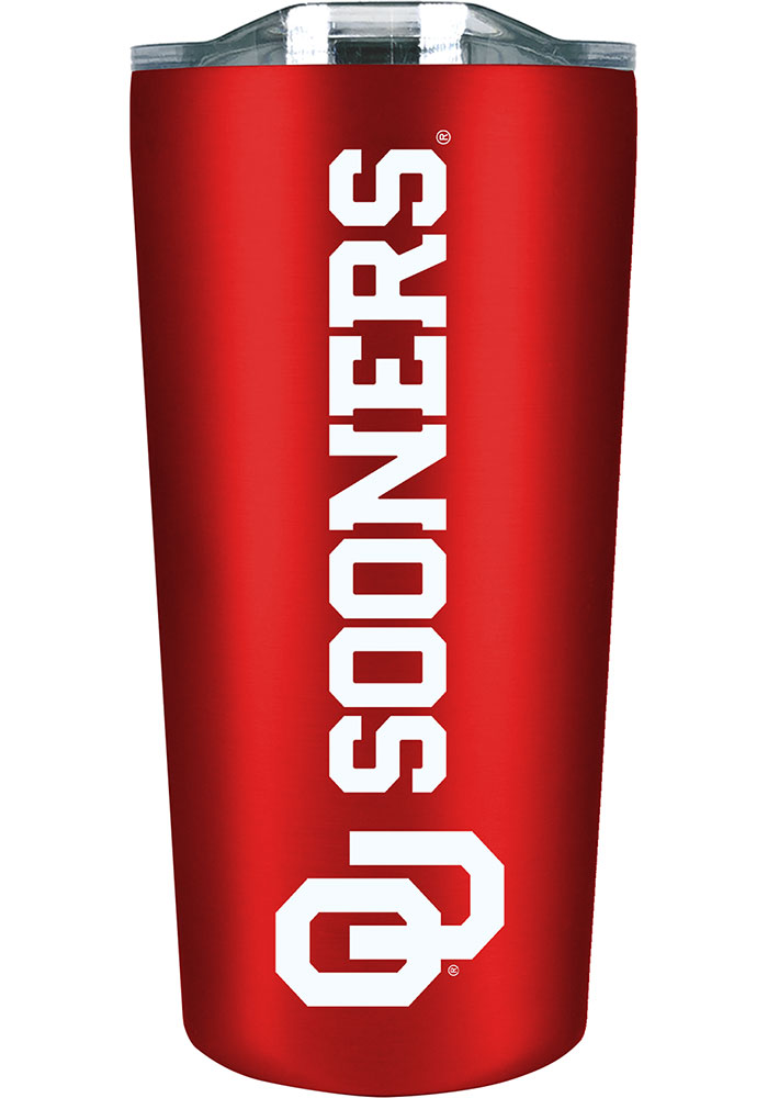 Oklahoma Sooners Team Logo 18oz Soft Touch Stainless Steel Tumbler - Red - Image 1