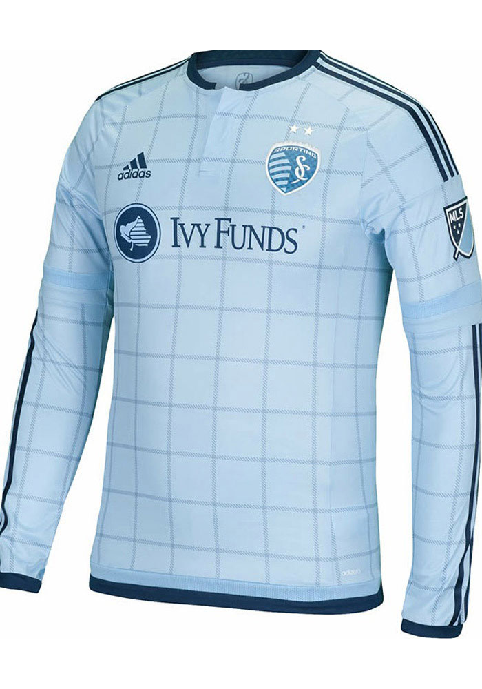 Adidas Sporting Kansas City Mens Light Blue Long Sleeve Authentic Primary Soccer Jersey - Image 1