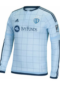 Adidas Sporting Kansas City Mens Light Blue Long Sleeve Authentic Primary Soccer Jersey