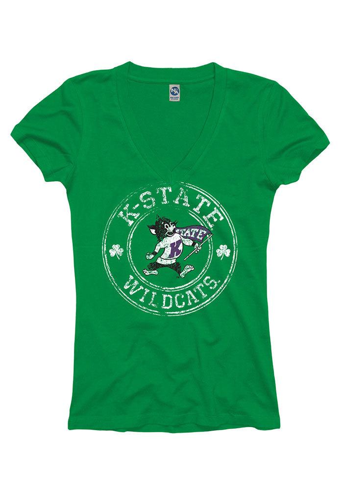 K-State Wildcats Womens Kelly Green Circle Shamrock V-Neck T-Shirt - Image 1