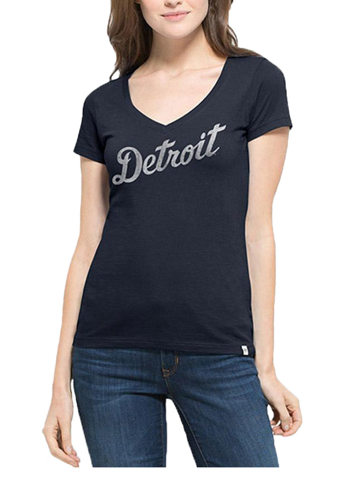 '47 Detroit Tigers Womens Navy Blue Flanker MVP V-Neck T-Shirt - Image 1
