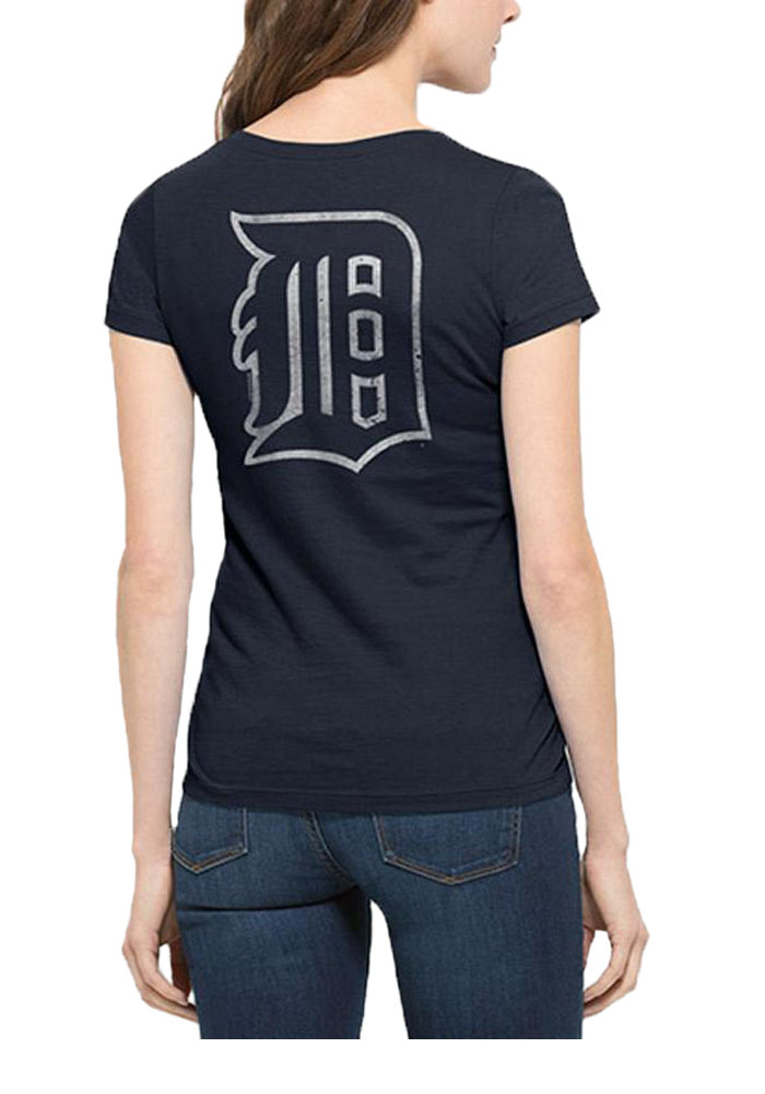'47 Detroit Tigers Womens Navy Blue Flanker MVP V-Neck T-Shirt - Image 2