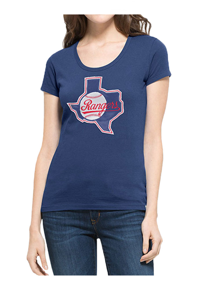 47 Texas Rangers Womens Blue Knockout Scoop Scoop T-Shirt - Image 1