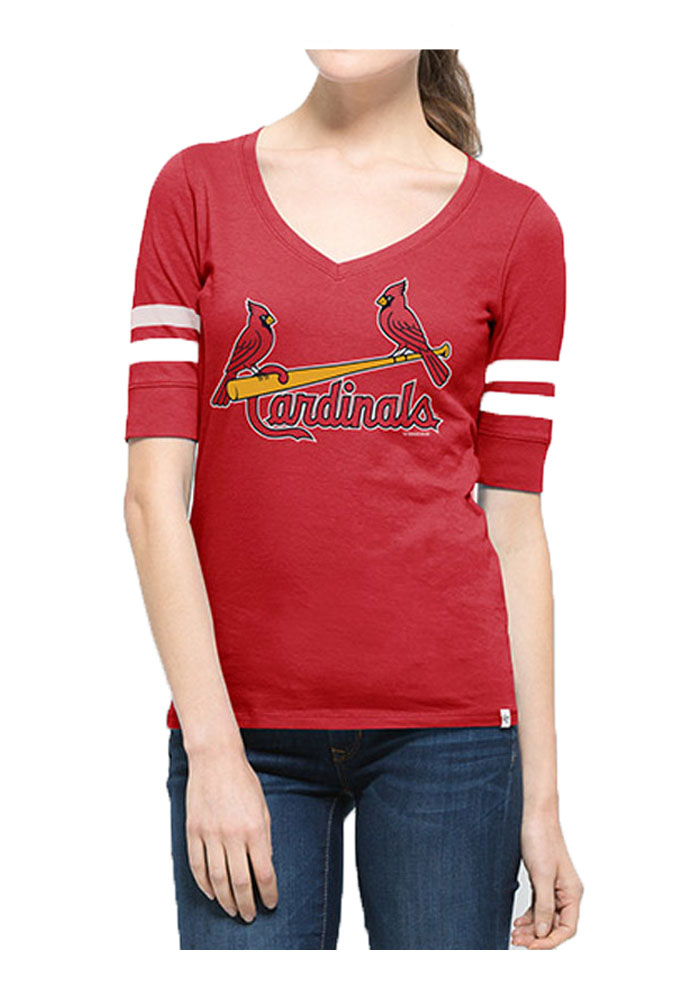 '47 St Louis Cardinals Womens Red Flanker Stripe V-Neck T-Shirt - Image 1