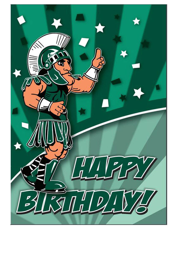 Michigan State Spartans Mascot Happy Birthday Card - Image 1
