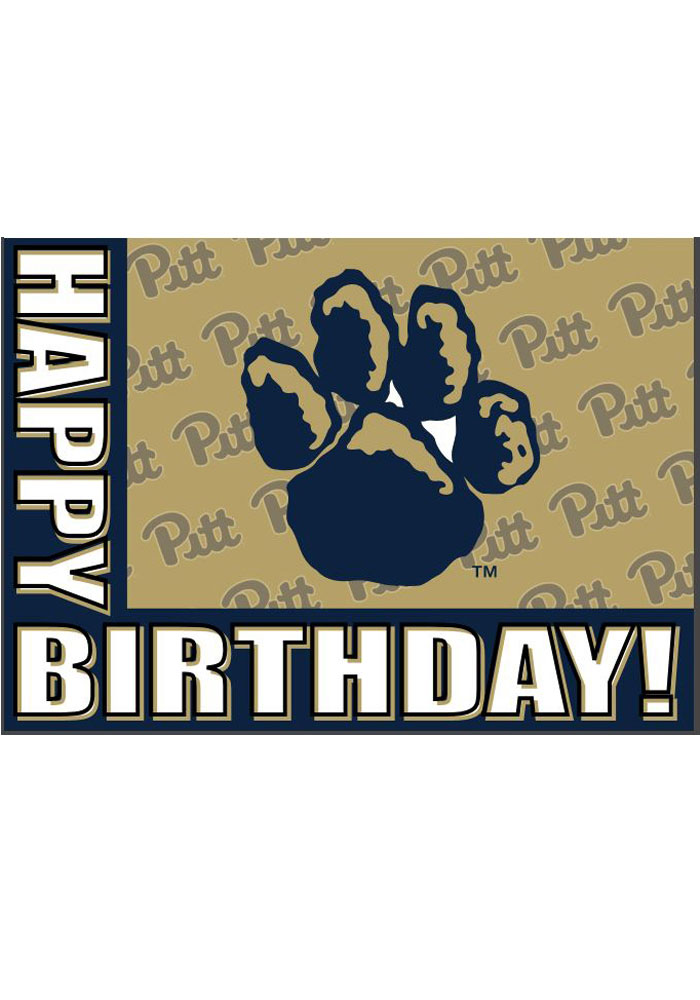 Pitt Panthers Happy Birthday Repeating Logo Card - Image 1