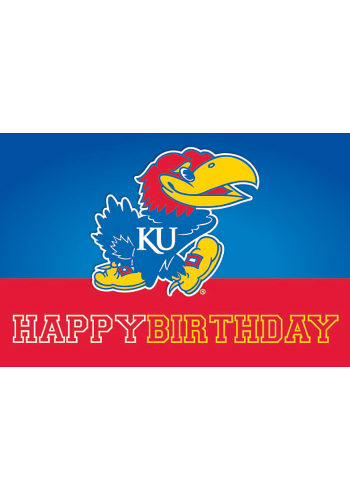 Kansas Jayhawks Happy Birthday Colorblock Card - Image 1