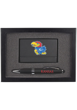Kansas Jayhawks Business Card & Pen Set Desk Accessory
