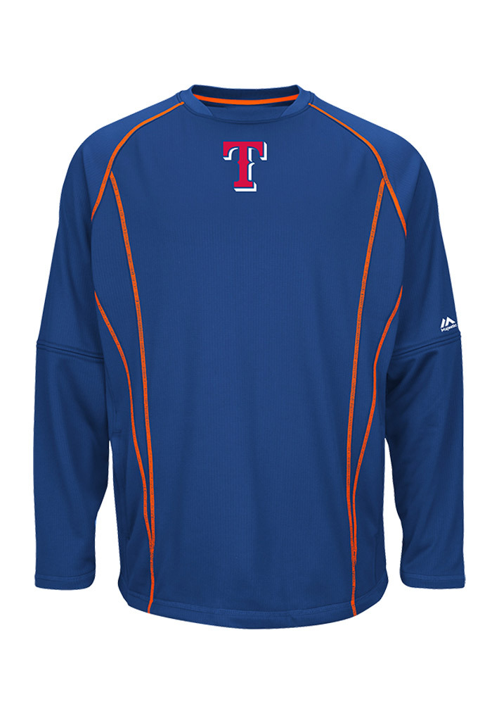 Majestic Texas Rangers Mens Blue On Field Practice Pullover Pullover Jackets - Image 1