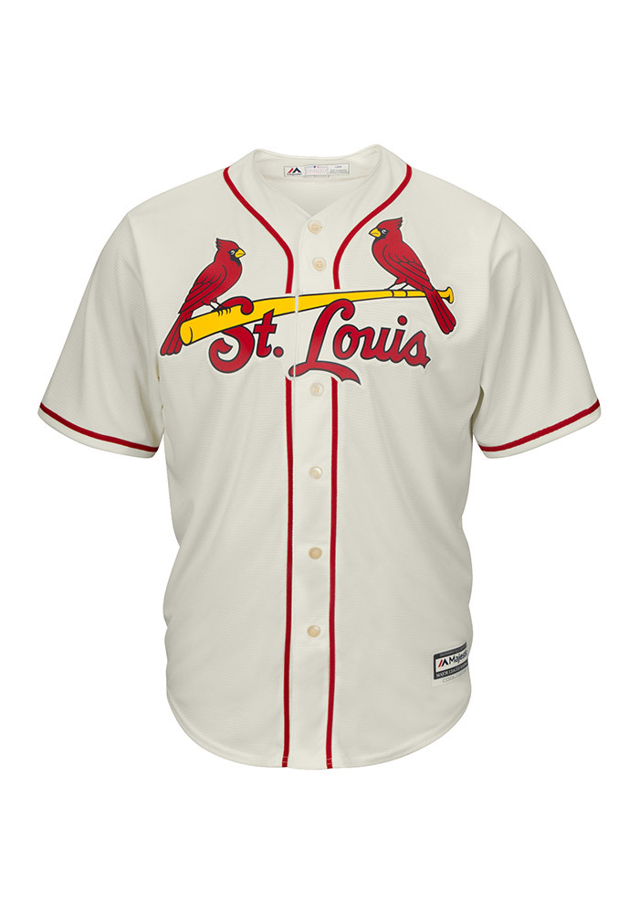St Louis Cardinals Mens Majestic Replica Cool Base Jersey Jersey - Ivory - Image 1