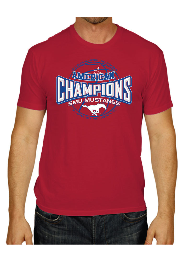 SMU Mustangs Mens Red Stretch Short Sleeve Fashion T Shirt - Image 1