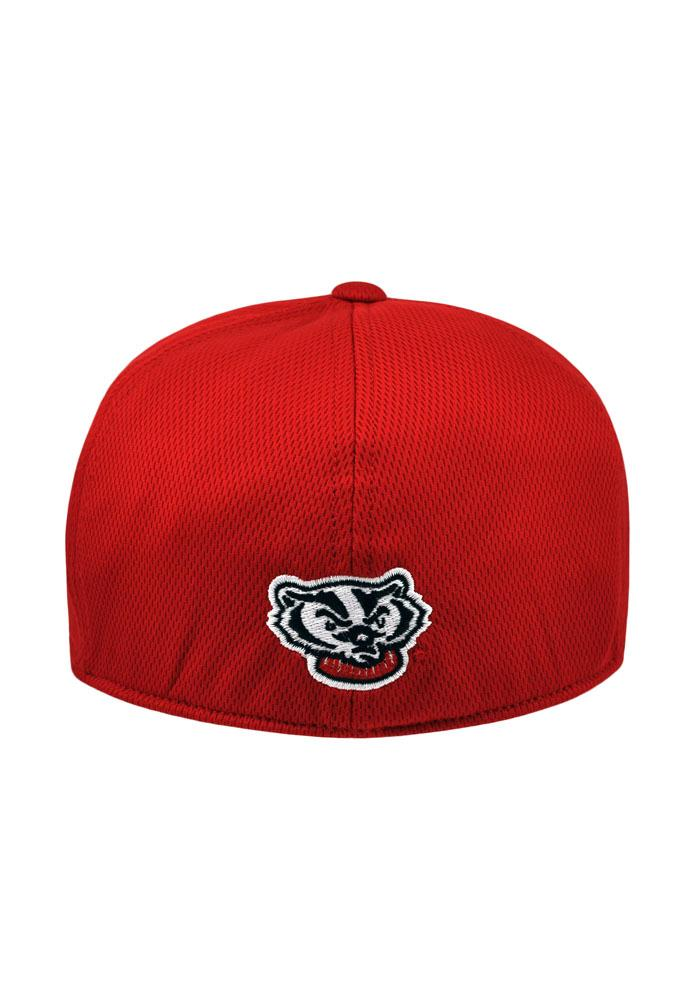 Top of the World Wisconsin Badgers Mens Red Booster Flex Hat - Image 2