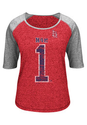 Majestic St Louis Cardinals Womens Worlds Best Mom Red Scoop T-Shirt