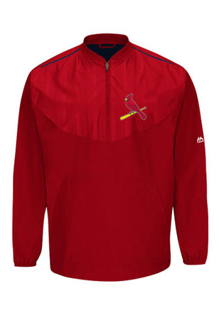 Majestic STL Cardinals Mens Red On-Field Cool Base Gamer 1/4 Zip Performance Pullover