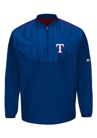 Majestic Texas Rangers Mens Blue On-Field Cool Base Gamer 1/4 Zip Pullover