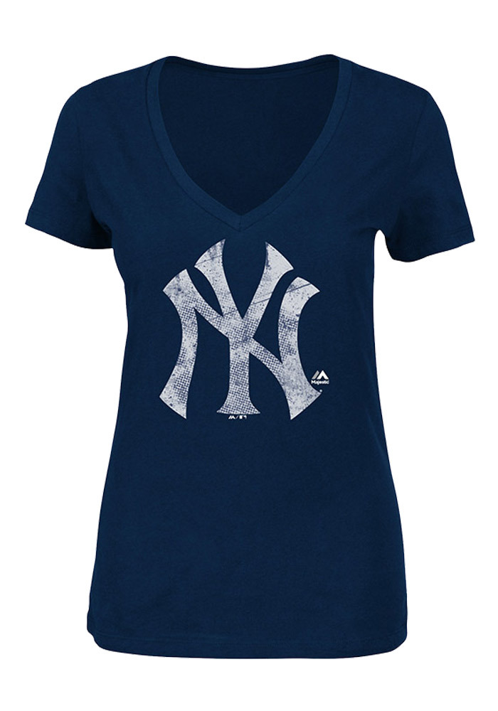 Majestic New York Yankees Womens Navy Blue Keep Advancing V-Neck T-Shirt - Image 1