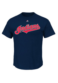 Majestic Cleveland Indians Navy Blue Official Wordmark Tee